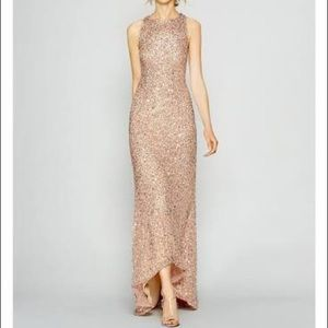 Adrianna Papell Sequin Beaded Halter GownRose Gold